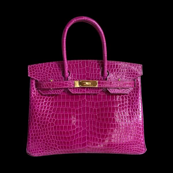Hermès Birkin  porosus rose pourpre shiny