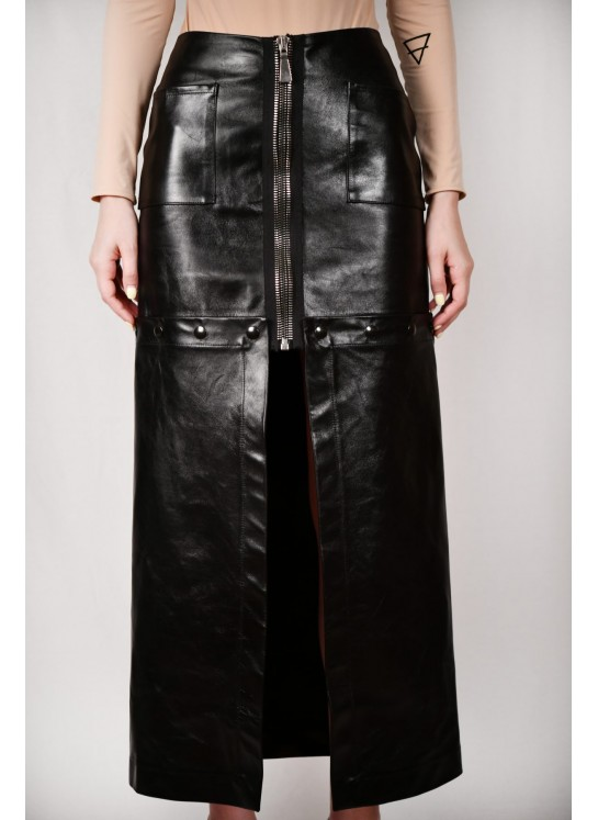 Deconstructed leather skirt