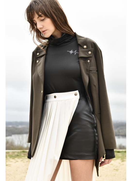 Short-long deconstructed skirt